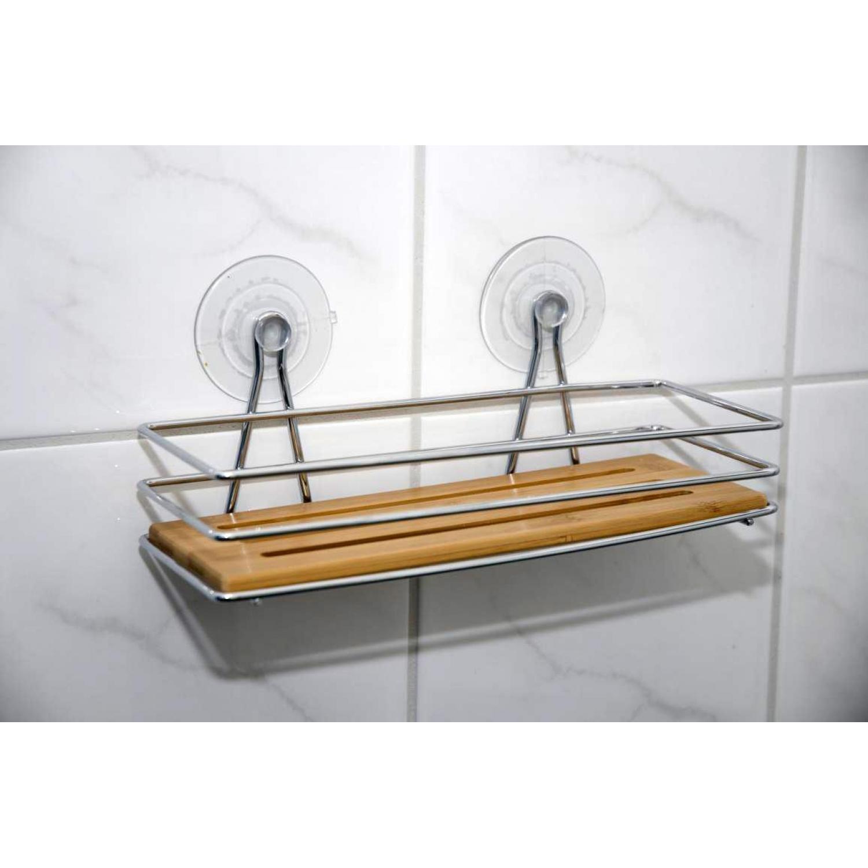 Duschablage Saugnapf : Duschablage rechteckig – Duschkorb Bambus mit Saugn?pfe – Duschregal