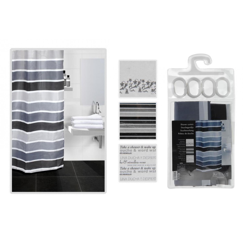 Design Dusche Dark Night : Duschvorhang Black & White – Vorhang f?r Dusche schwarzer Text