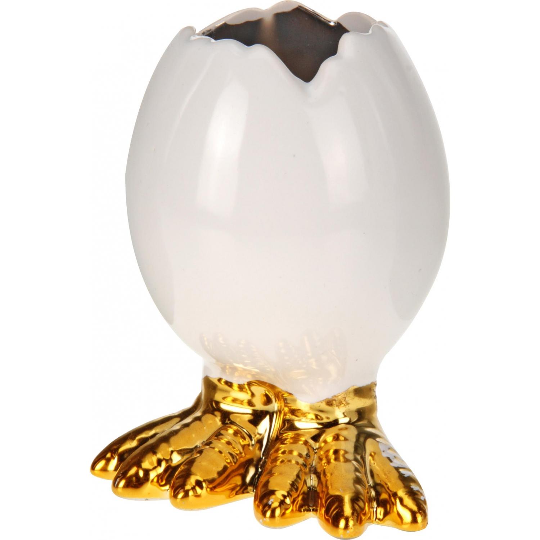 Porzellanei mit Füßen - Ei aus Porzellan - Osterei Osterdeko