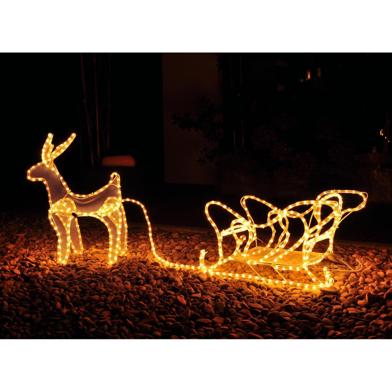 rentier mit schlitten weihnachtseleuchtung mit 14m lichtschlauc 38 99. Black Bedroom Furniture Sets. Home Design Ideas