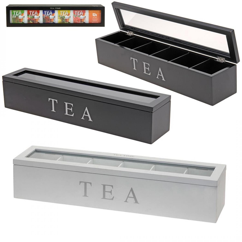 Teekiste aus Holz mit 6 Fächern - Teebox - Aufbewahrungsbox