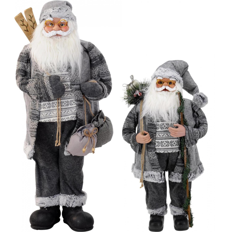 weihnachtsmann mit sack grau nikolaus dekofigur weihnachten gro 74 99. Black Bedroom Furniture Sets. Home Design Ideas