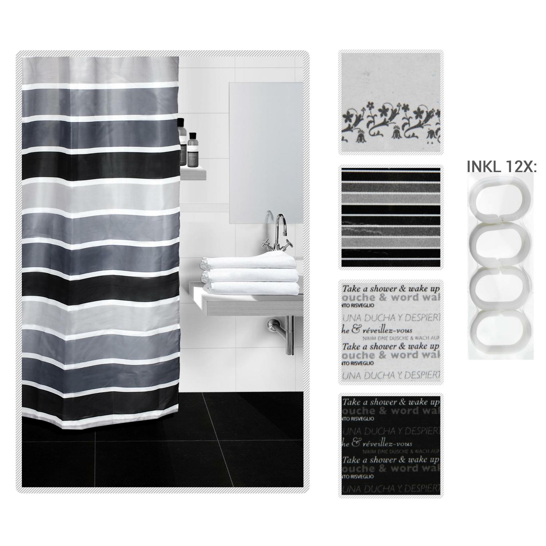 duschvorhang black white vorhang f r dusche schwar. Black Bedroom Furniture Sets. Home Design Ideas