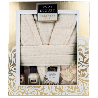 Wellness Set BODY LUXURY Geschenkset mit Bademantel WARM VANILLA & LIME BLOSSOM