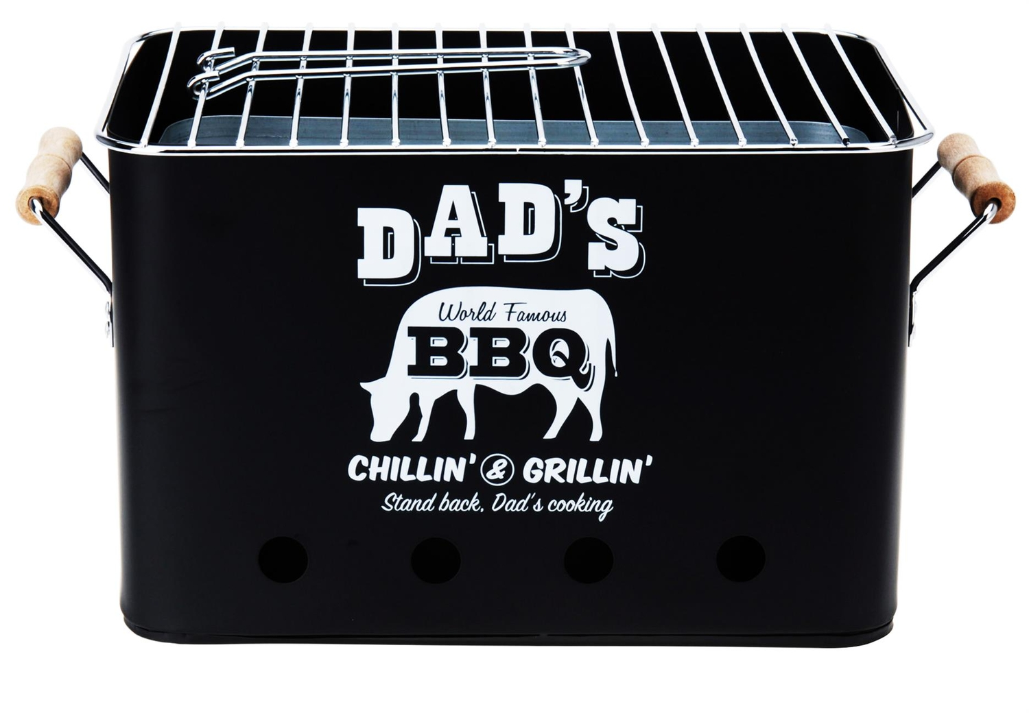 Holzkohlegrill Dad's World Famous BBQ - Picknickgrill Tischgrill 22x38 cm