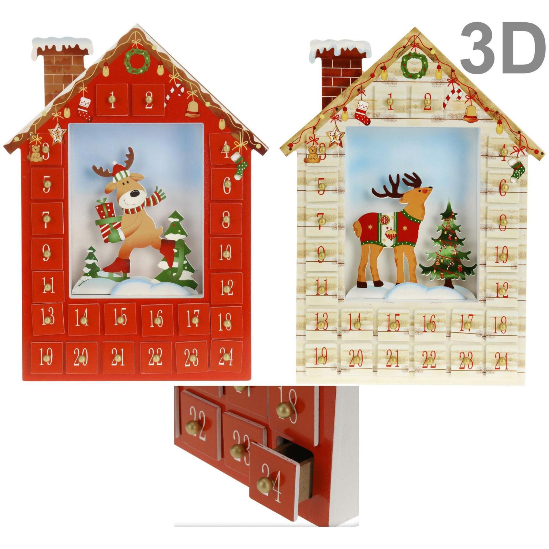 Adventskalender HÄUSCHEN zum selbstbefüllen - 3D Motiv Weihnachtskalender aus Holz Rot