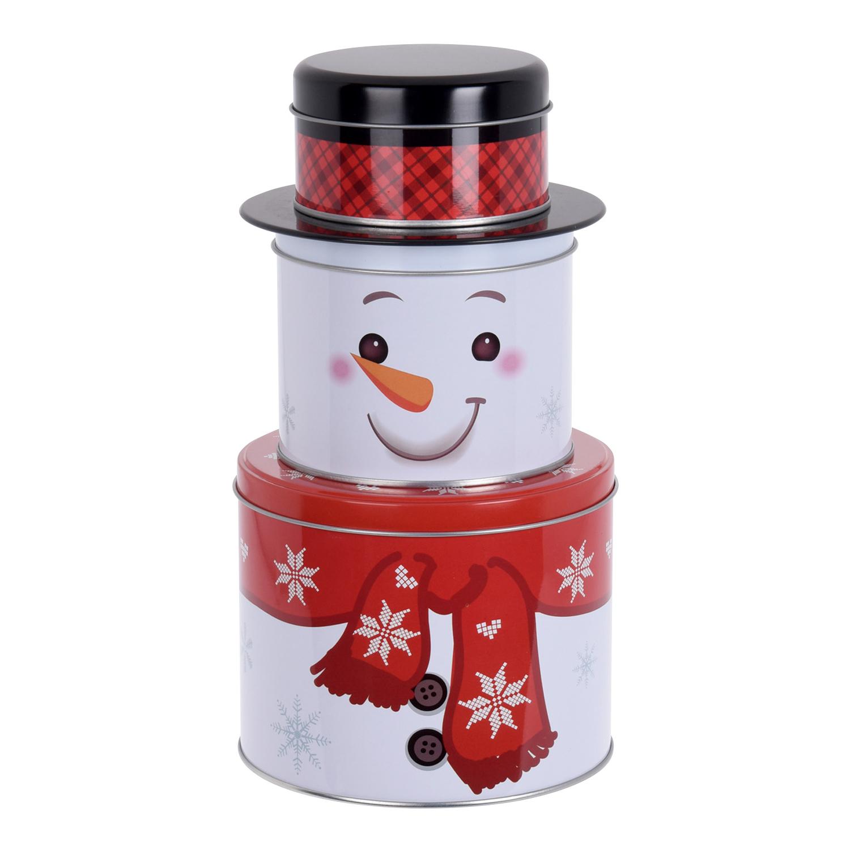 weihnachtliche keksdose 3 tlg schneemann weihnachtsmann. Black Bedroom Furniture Sets. Home Design Ideas