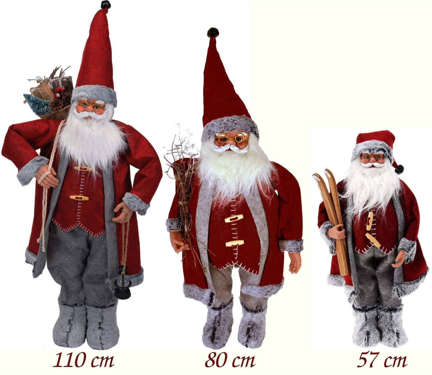 weihnachtsmann figur rot grau nikolaus xxl dekofigur. Black Bedroom Furniture Sets. Home Design Ideas