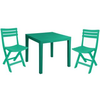 Garten Sitzgarnitur Grün Aus Kunststoff 2 Klappstühle Tisch 5999