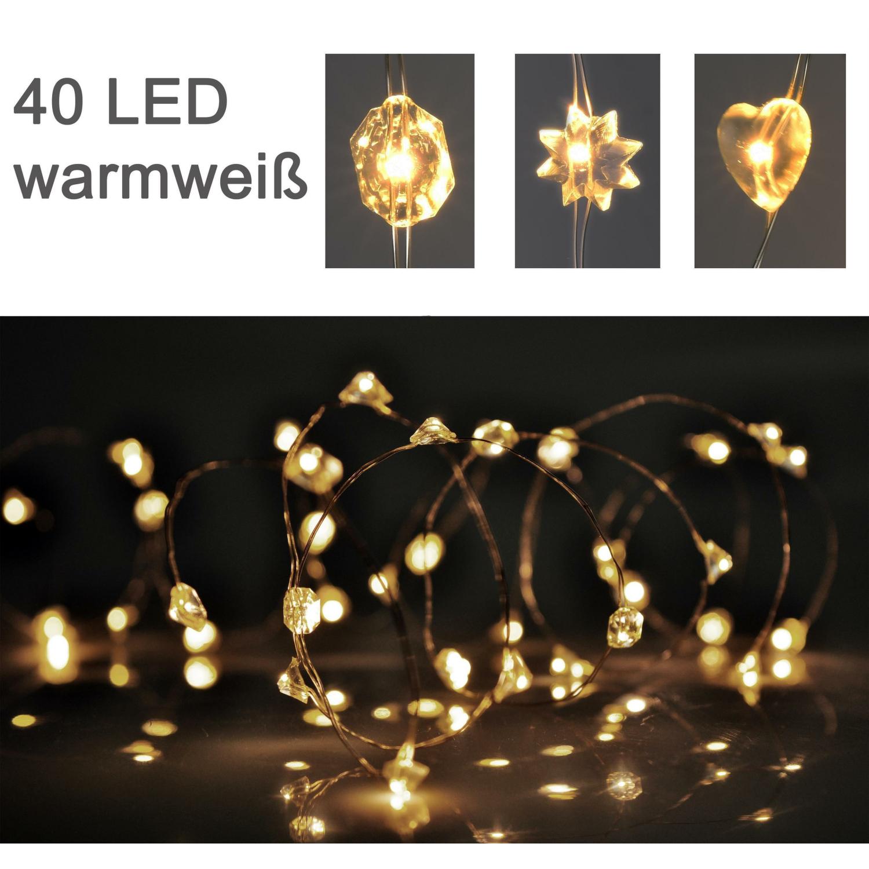 silberdraht micro lichterkette 40 led diamant herz stern. Black Bedroom Furniture Sets. Home Design Ideas