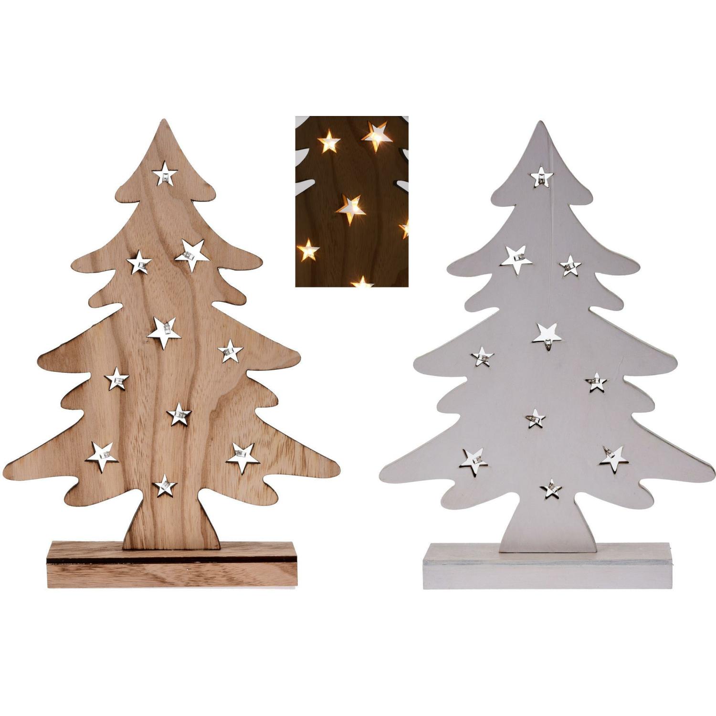 Weihnachtsbaum aus Holz - 10 LED - batteriebetrieben - 37 cm Weih